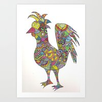 Mad Chickens Art Print