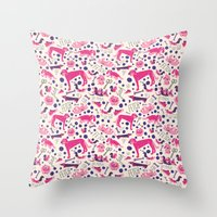 Park dogs in Pink Throw Pillow