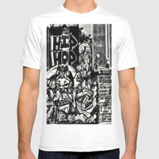 Hip Hop SMALL White Mens Fitted Tee