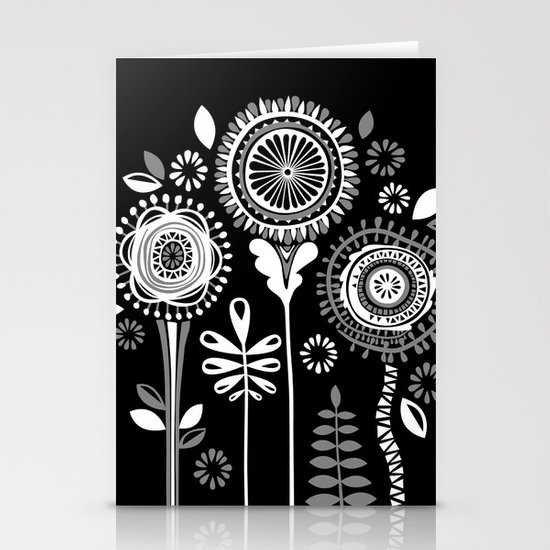 Folksy Flowerheads reverse Stationery Card
