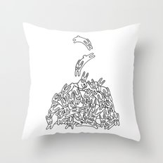 Pile of Rabbits Throw Pillow