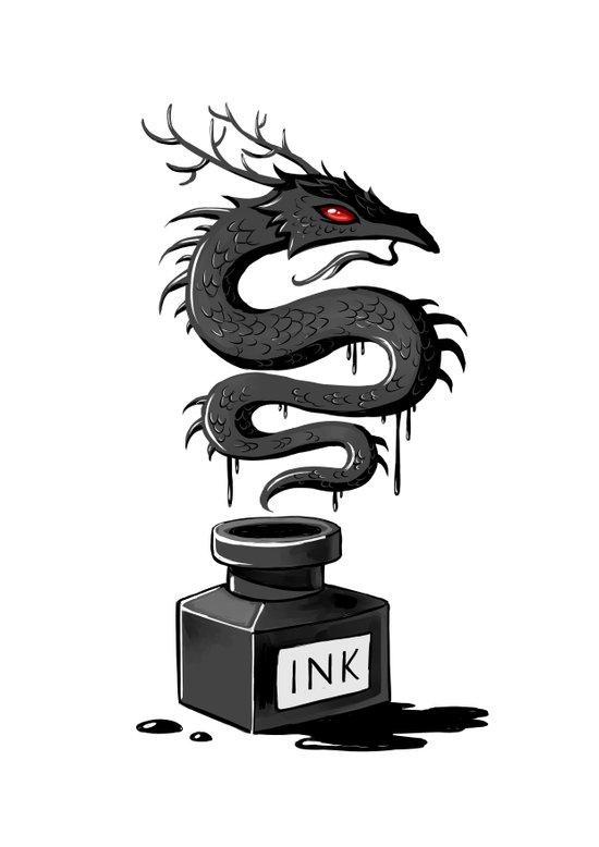 Ink Dragon Canvas Print