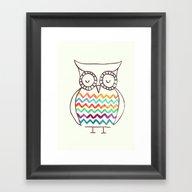 Chevron Owl Framed Art Print