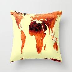 World Map Earth Tones Throw Pillow