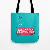 Save Water Shower With A… Tote Bag