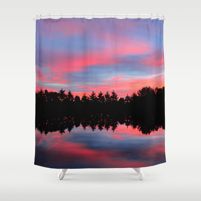Sunrise Blue And Pink Shower Curtain By Bella Mahri PhotoArt By Tina Soci