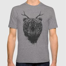 Angry bear with antlers Mens Fitted Tee Tri-Grey SMALL