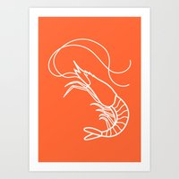 Orange Shrimp Art Print