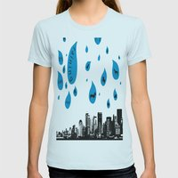 Raining Cats & Dogs Womens Fitted Tee Light Blue SMALL