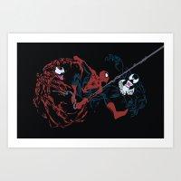 Spider-man - Carnage VS Spidey VS Venom Art Print