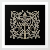 Celtic Leaves Knotwork O… Art Print