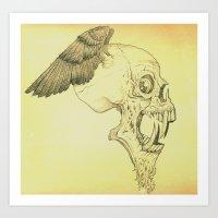 Winged Skull Art Print