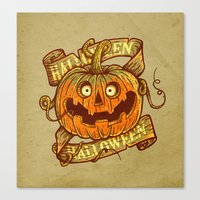 Halloween Dark Khaki Canvas Print