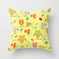 Owls And Squirrels Print Throw Pillow