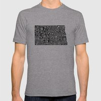 Typographic North Dakota Mens Fitted Tee Athletic Grey SMALL