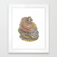 Quilted Forest: The Bear Framed Art Print