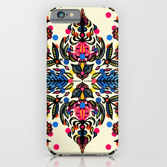 Bright Folk Art Pattern - hot pink, orange, blue & green iPhone & iPod Case