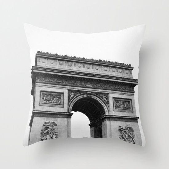 Arc de Triomphe Noir Throw Pillow