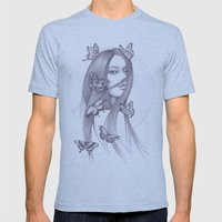 Black Butterfly Mens Fitted Tee Athletic Blue SMALL