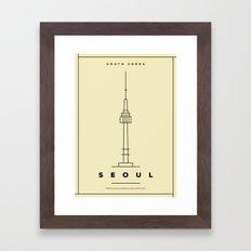 Minimal Seoul City Poster Framed Art Print