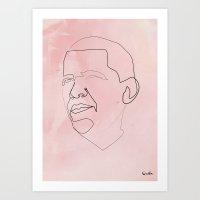 One line Obama Art Print