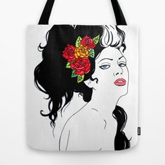 Girl with Roses Tote Bag