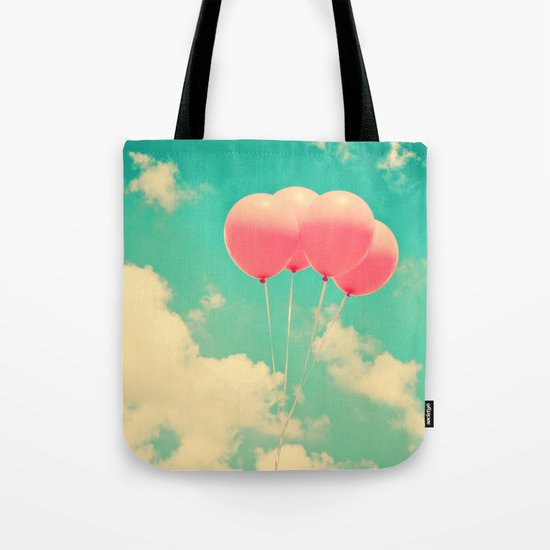 Balloons in the sky (pink ballons in retro blue sky) Tote Bag