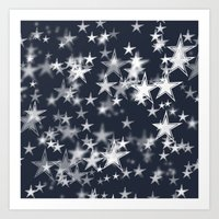 Navy and White Stars Bokeh Art Print