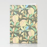Leaf pattern | brown, pale yellow and green Stationery Cards