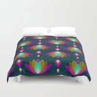 Variations on a Lotus II - Jewel on Green Duvet Cover