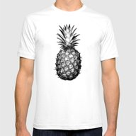 Black & White Pineapple Mens Fitted Tee White SMALL