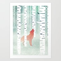 Winterfox Art Print