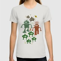 Robot Invasion! Womens Fitted Tee Silver SMALL