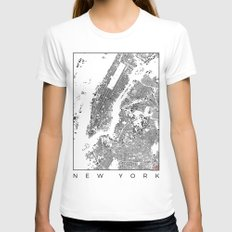 New York Map Schwarzplan Only Buildings Womens Fitted Tee White SMALL