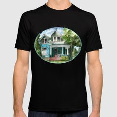 The House with Red Trim Mens Fitted Tee Black SMALL