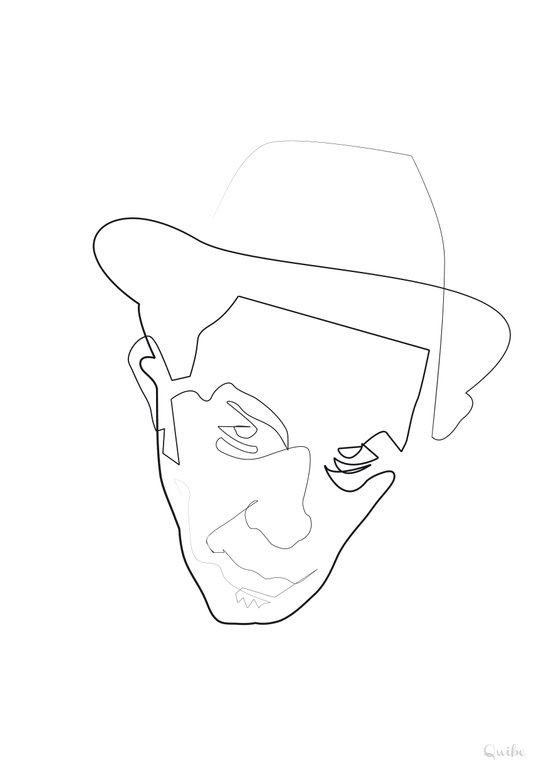 One Line Tom Waits Art Print