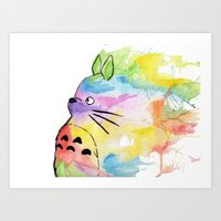 rainbow Art Prints featuring My Rainbow Totoro by scoobtoobins