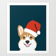 Corgi Christmas  Santa C… Art Print