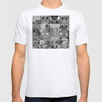Eyes Eyes Eyes BW Mens Fitted Tee Ash Grey SMALL