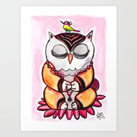 Art Print featuring Zen Owl  by Olive Primo Design + Illustration