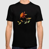 Sunflower Abstract Mens Fitted Tee Black SMALL