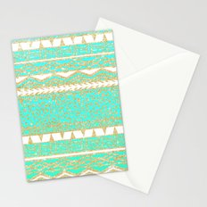 Modern gold turquoise teal ombre aztec pattern Stationery Cards