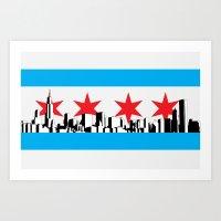New Chicago Flag Art Print