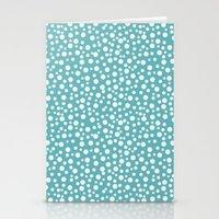 Aqua White Confetti Stationery Cards