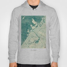 Dubai Map Blue Vintage Hoody