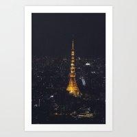 Tokyo Tower at Night Art Print