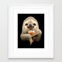 SLOTH & SOFT DRINK Framed Art Print