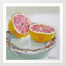 Grapefruit on Brown Transferware Art Print