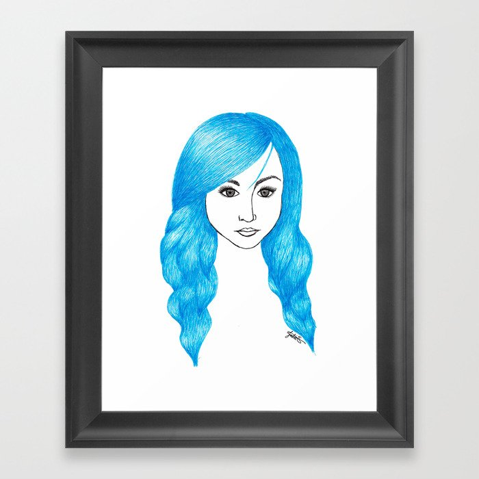 blue hair framed art print fashion illustration girl self portrait