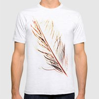 Peacock Feather 1 Mens Fitted Tee Ash Grey SMALL